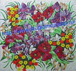 панно из мозаики -цветы
