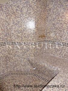 Оформление Хамам -стеклянной плиткой мозаикой.