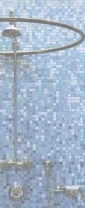 Матричная растяжка из мозаики для ванной комнаты.