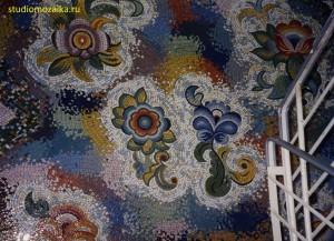 Мозаичное чудо -Цветы, интерьер лестничного марша Детского садика.