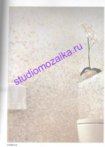 Мозаичная растяжка в Интерьере ванной комнаты.