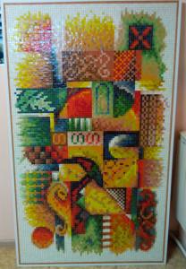 Матричное детализированное панно из мозаики.