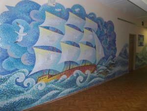 Мозаичное панно в интерьере.