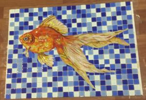 Мозаика -Рыбка .Готовое панно для бассейна.