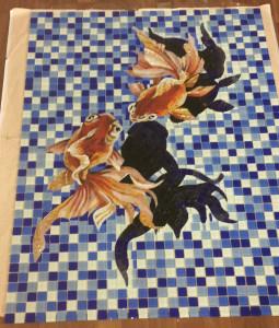 Готовое мозаичное панно для укладки на дно бассейна.