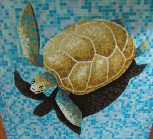 Черепаха с Тенью -Для бассейна -Фон Матрица.